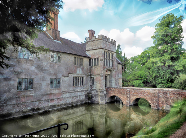 Moated Manor House Canvas Print by Peter Hunt