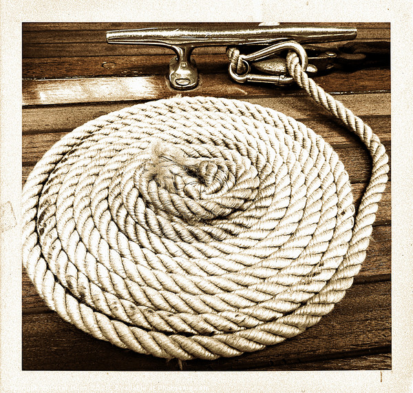 Boat Rope Framed Mounted Print by Peter Hunt