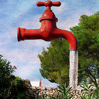 Buy canvas prints of Giant Water Tap by Peter Hunt