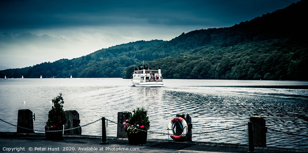 Passenger boat at Lake Windermere Framed Mounted Print by Peter Hunt