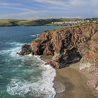 Buy canvas prints of Tidal Cove, with view towards New Polzeath,  Cornw by Mick Blakey