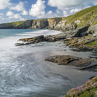Buy canvas prints of Incoming Tide, Trebarwith Strand, Cornwall by Mick Blakey
