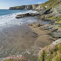 Buy canvas prints of Fun on the beach, Trebarwith Strand, Cornwall by Mick Blakey