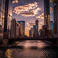 Buy canvas prints of Chicago River in the evening - amazing view  by Erik Lattwein