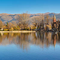 Buy canvas prints of Panoramic view of Lake Puigcerda at sunset by Jordi Carrió