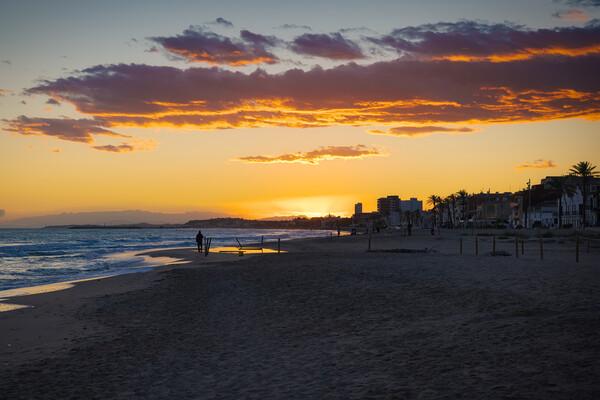 Sunset on the beach of Saint Salvador -2 Acrylic by Jordi Carrió