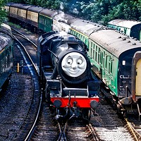 Buy canvas prints of Thomas the Tank engine, Alresford, Hampshire  by Simon Marlow