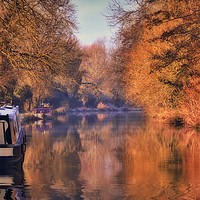 Buy canvas prints of Autumn reflections on the Kennet and Avon Canal by Simon Marlow