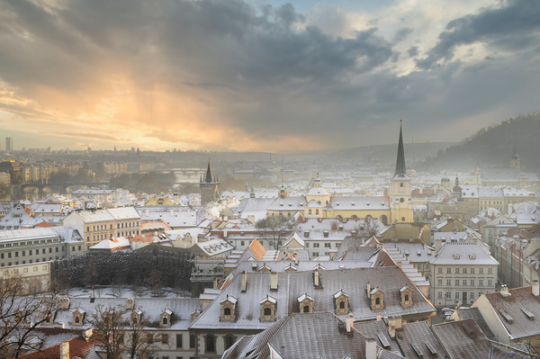Snowy Roofs on Prague  Canvas Print by federico stevanin