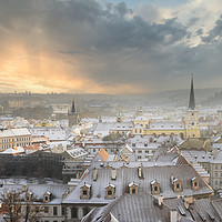 Buy canvas prints of Snowy Roofs on Prague  by federico stevanin