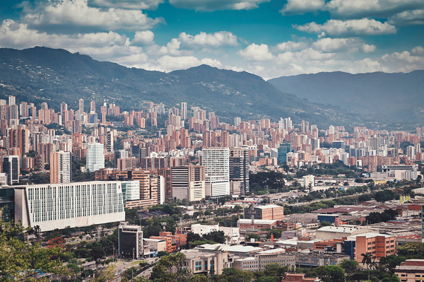 buildings and the mountains in Medellin, Colombia Canvas Print by federico stevanin