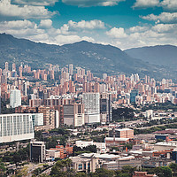 Buy canvas prints of buildings and the mountains in Medellin, Colombia by federico stevanin