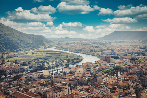 Aerial shot of Bosa in Sardinia, Italy Canvas Print by federico stevanin