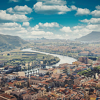Buy canvas prints of Aerial shot of Bosa in Sardinia, Italy by federico stevanin