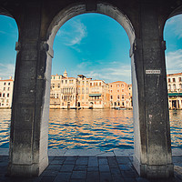 Buy canvas prints of Under the arches of Rialto Canal in  Venice  by federico stevanin