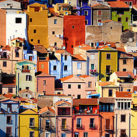 Buy canvas prints of Colorful houses in Bosa, Sardinia by federico stevanin