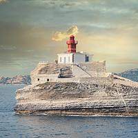Buy canvas prints of Madonetta lighthouse  Bonifacio Corsica France by federico stevanin