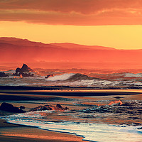 Buy canvas prints of red orange yellow black sunset on sea by federico stevanin