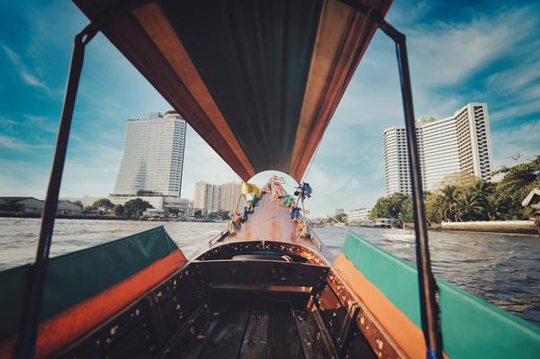 long tail boat on Chao Phraya river in Bangkok Canvas Print by federico stevanin
