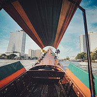 Buy canvas prints of long tail boat on Chao Phraya river in Bangkok by federico stevanin