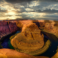 Buy canvas prints of Horseshoe Bend at Sunset by BRADLEY MORRIS