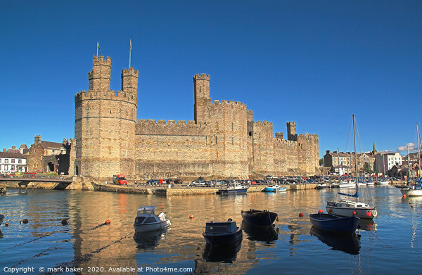 Caernarfon Castle & harbour. Canvas Print by mark baker