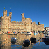 Buy canvas prints of Caernarfon Castle & harbour. by mark baker