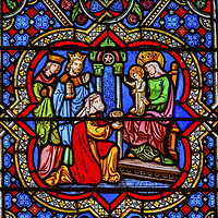 Buy canvas prints of 3 Kings Mary Jesus Stained Glass Notre Dame Paris by William Perry