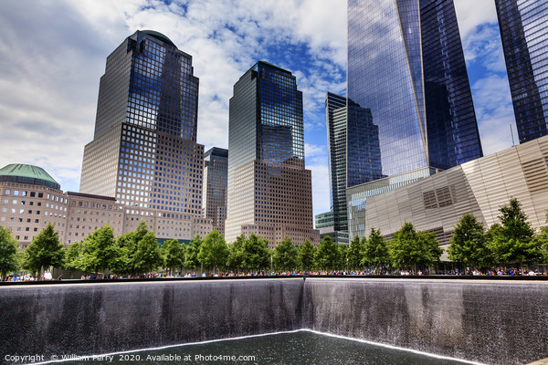 World Trade Center Memorial Pool New York City Framed Mounted Print by William Perry