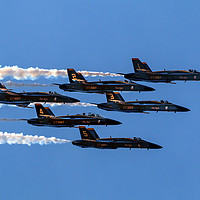 Buy canvas prints of Blue Angels Close Flying Over Seattle Washington by William Perry