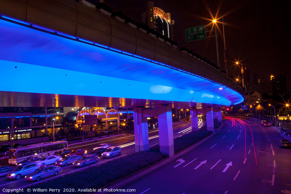 Blue Highway Night Shanghai China Acrylic by William Perry