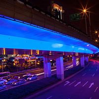 Buy canvas prints of Blue Highway Night Shanghai China by William Perry