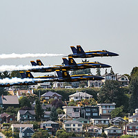Buy canvas prints of Blue Angels Close Flying Over Seattle Houses Washi by William Perry