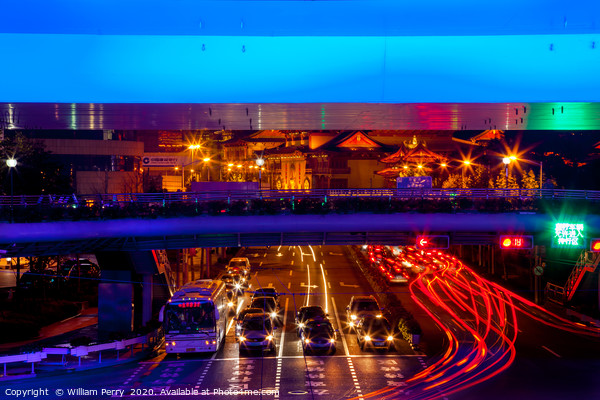 Blue Highway Traffic Shanghai China Acrylic by William Perry