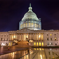 Buy canvas prints of US Capitol Construction Night Stars Washington DC by William Perry