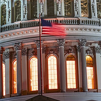 Buy canvas prints of US Capitol Dome Flag Washington DC  by William Perry