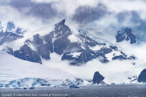 Mountains Glaciers Charlotte Bay Antarctica Framed Print by William Perry