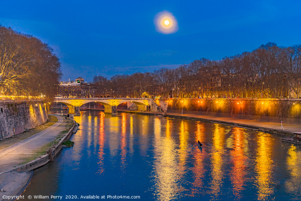 Moon Night Tiber River Rome Italy Framed Print by William Perry
