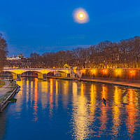 Buy canvas prints of Moon Night Tiber River Rome Italy by William Perry