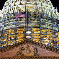 Buy canvas prints of US Capitol Construction Night Washington DC by William Perry