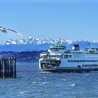 Buy canvas prints of Washington Ferry Boat Edmonds Washington by William Perry