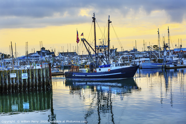 Large Fishing Boat Westport Grays Harbor Washingto Framed Mounted Print by William Perry