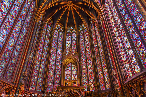Stained Glass Sainte Chapelle  Cathedral Paris Fra Canvas Print by William Perry