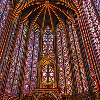Buy canvas prints of Stained Glass Sainte Chapelle  Cathedral Paris Fra by William Perry