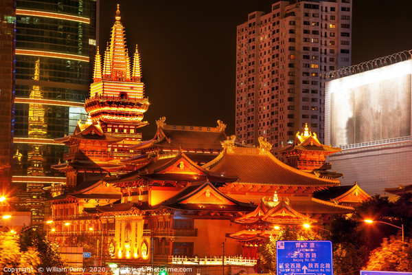 Golden Jing An Temple Shanghai China Night Canvas Print by William Perry