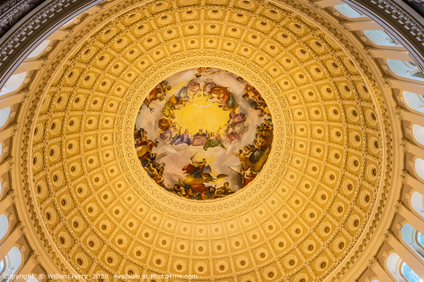 US Capitol Dome Rotunda Apothesis Washington DC Framed Mounted Print by William Perry