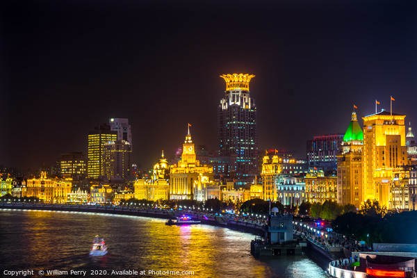 Bund Skyscrapers Night Lights Shanghai China Canvas Print by William Perry