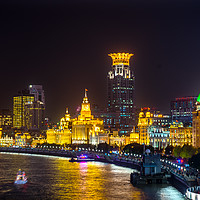 Buy canvas prints of Bund Skyscrapers Night Lights Shanghai China by William Perry