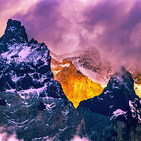Buy canvas prints of Sunset Paine Horns Torres del Paine National Park  by William Perry