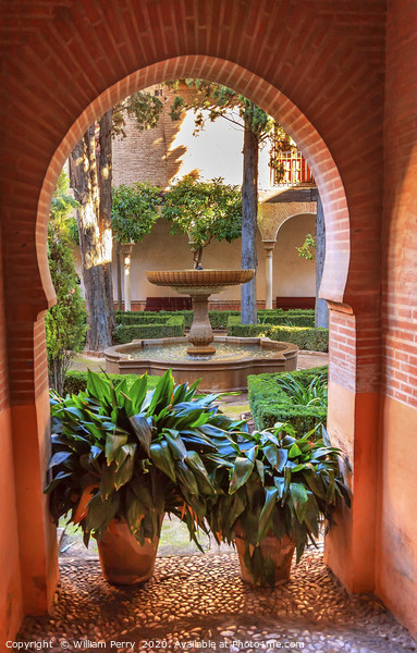 Alhambra Arch Courtyard Fountain Patio Granada And Canvas Print by William Perry